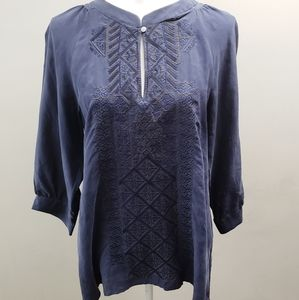 Theory Navy Embroidered 100% Silk Top M